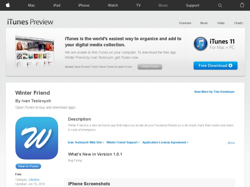 Winter Friend iOS App