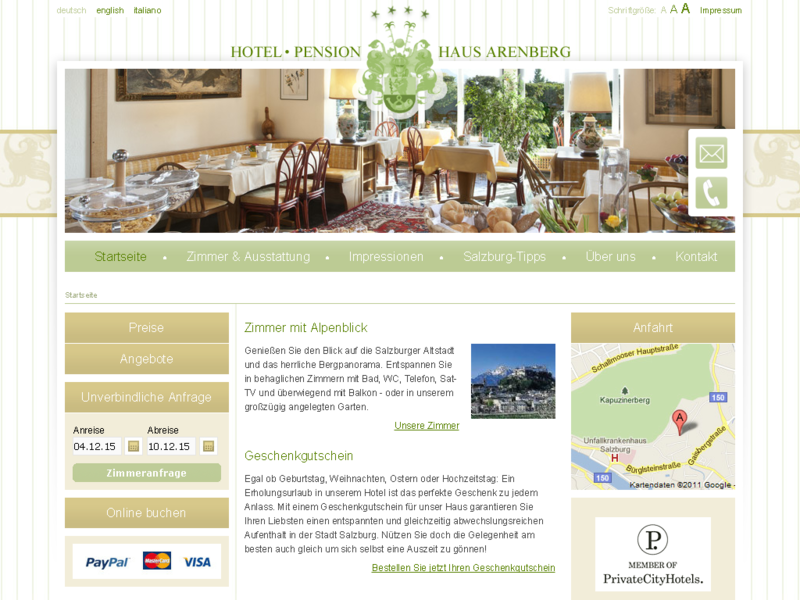 Website Hotel / Pension Haus Arenberg